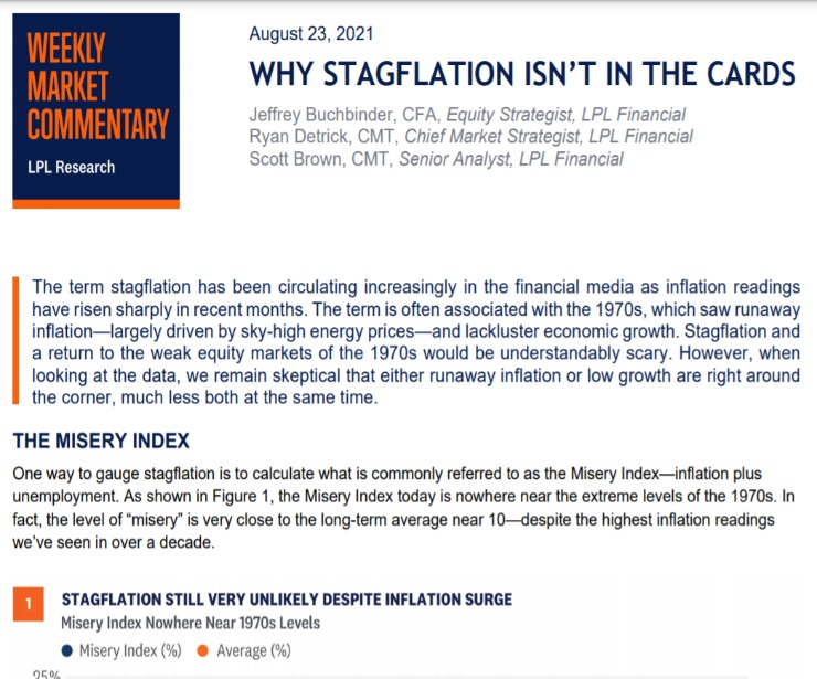 Why Stagflation Isn't in the Cards   Weekly Market Commentary   August 23, 2021